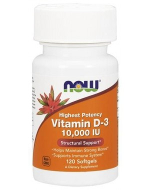 Vitamina D3 10,000 IU 120 Softgels NOW Foods