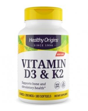 Vitamina D3 e K2 180 softgels HEALTHY Origins