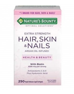 Hair Skin & Nails com Biotin 250 softgels NATURE Bounty