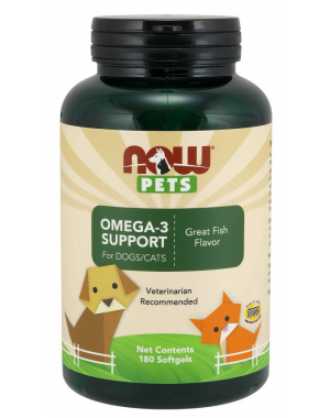 Omega 3 Support for Dogs & Cats para cães e gatos 180 Softgels NOW Pets