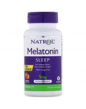 Melatonina 5mg FAST DISSOLVE sublingual 90 tablets Sabor morango NATROL