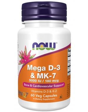Mega D3 & MK7 60 Veg Capsules  NOW