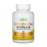 Vitamina C 1000 e Zinco Imunne 120vcaps SUPER Nutrition