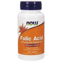 Acido Folico 800 mcg com Vitamin B-12 250 Tablets NOW Foods