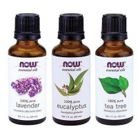 Óleos Essenciais NOW Tea Tree, Eucalyptus e Lavander - Kit com 3