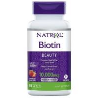 Biotina 10000 mcg Fast dissolve 60 tablets sublingual NATROL Morango